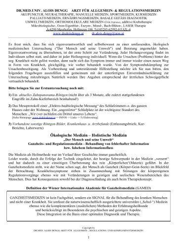 Ökologische Medizin - Dr. med. univ. Alois Dengg