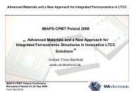 IMAPS-CPMT Poland Conference Warszawa ... - VIA electronic