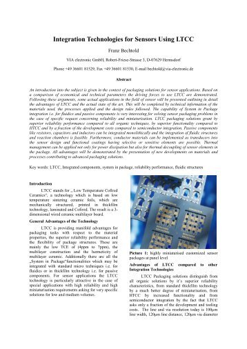 Integration Technologies for Sensors Using LTCC - VIA electronic