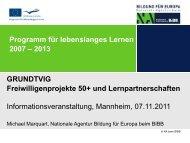 GRUNDTVIG: Freiwilligenprojekte 50+ und ... - NA-BIBB