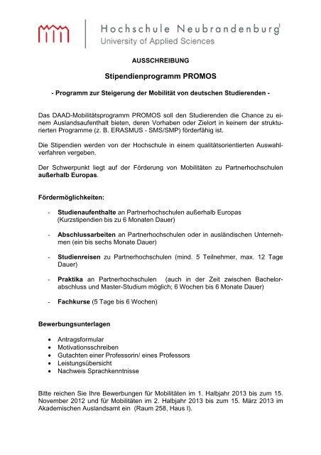Stipendienprogramm Promos