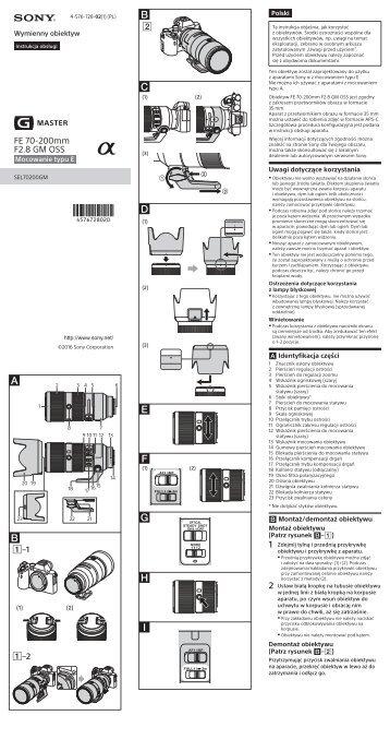 Sony SEL70200GM - SEL70200GM Consignes d'utilisation Polonais