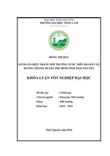 Đánh giá hiện trạng môi trường nước trên địa bàn xã dương thành huyện phú bình tỉnh thái nguyên