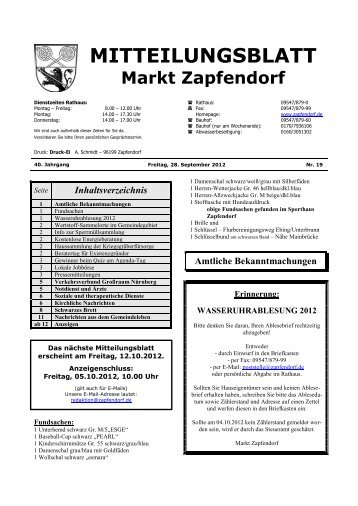 Mitteilungsblatt Nr. 19 - Ende September/Anfang Oktober - Zapfendorf