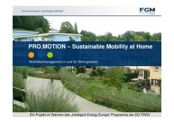 PRO.MOTION – Sustainable Mobility at Home