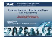 Antragstellung in Erasmus Mundus Aktion 1 - DAAD