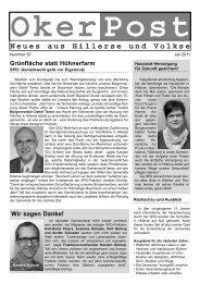 OkerPost Neues aus Hillerse und Volkse - SPD-Ortsverein Hillerse