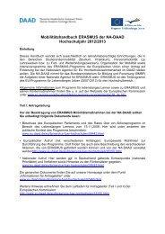 Mobilitätshandbuch für das Hochschuljahr 2012/2013 - DAAD