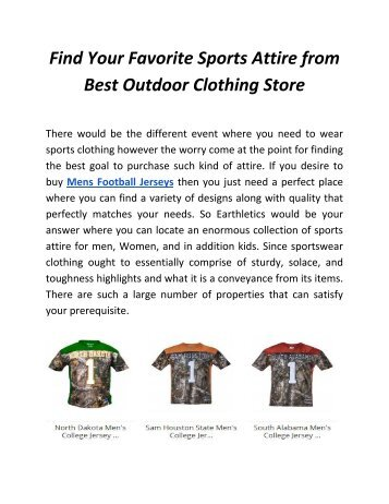 Find Your Favorite Sports Attire from Best Outdoor Clothing Store