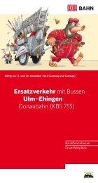 Ersatzverkehr mit Bussen Ulm–Ehingen, Donaubahn (KBS 755)