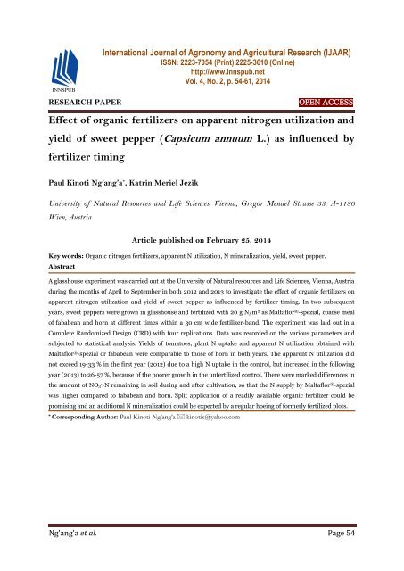 Effect of organic fertilizers on apparent nitrogen utilization and yield of sweet pepper (Capsicum annuum L.) as influenced by fertilizer timing