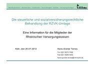 Versteuerung der Umlage - Rheinische Versorgungskassen