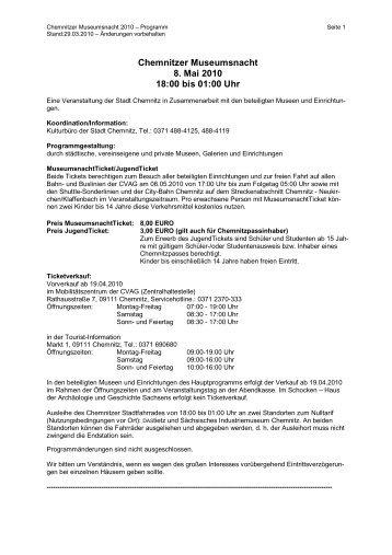 Programm zur Chemnitzer Museumsnacht 2010