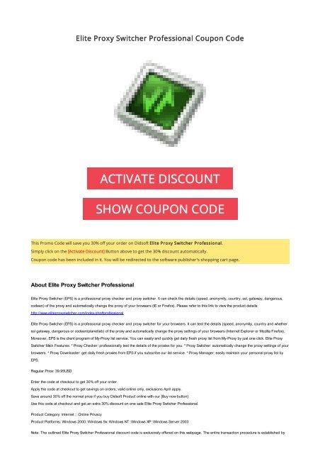 30% OFF Elite Proxy Switcher Professional Coupon Code 2017 Discount