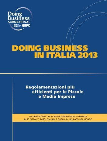 DOING BUSINESS IN ITALIA 2013 - Governo Italiano