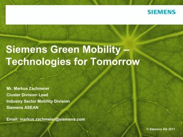 Siemens Green Mobility – Technologies for Tomorrow - LTA Academy