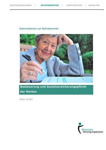 Besteuerung und Sozialversicherungspflicht der Renten