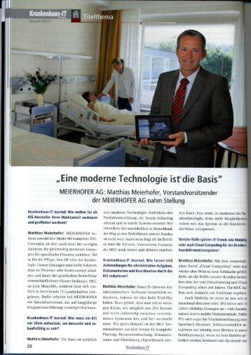 """Eine moderne Technologie isfdie Basis"""" - Meierhofer AG"""