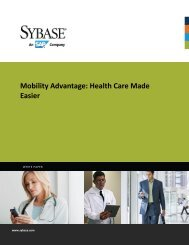 Mobility Advantage: Health Care Made Easier - Sybase