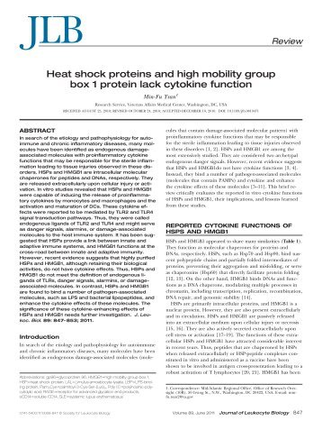 Heat shock proteins and high mobility group box 1 protein lack ...