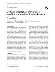 Cultural geographies of migration: mobility, transnationality and ...