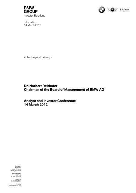 Ing Norbert Reithofer Text Version Pdf Bmw Group