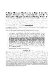 A Rare Missense Mutation in a Type 2 Diabetes Patient Decreases ...