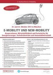 E-MOBILITY UND NEW-MOBILITY Kooperationen, Wirtschaftlichkeit ...
