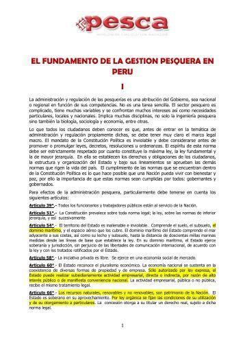 EL FUNDAMENTO DE LA GESTION PESQUERA EN PERU