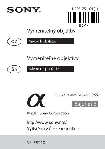 Sony SEL55210 - SEL55210 Mode d'emploi Slovaque