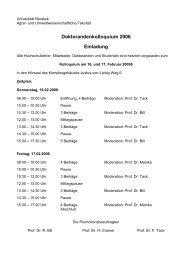 Doktorandenkolloquium 2006 Einladung - Agrar- und ...