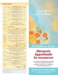 L'été 2017 à l'Institut Rudolf Steiner au Québec