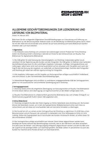 AGB zur Lizenzierung und Lieferung - Shotshop GmbH