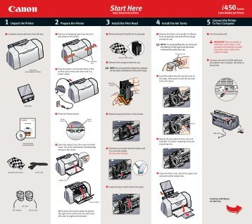 Canon PIXMA i450 - i450 Easy Setup Instructions