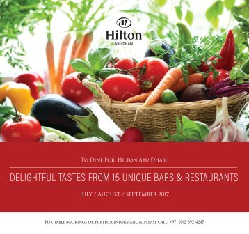 Hilton Abu Dhabi F&B Offers - July, August & September 2017
