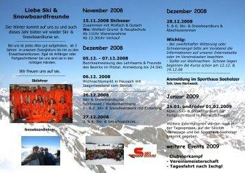 Winterprogramm 2008/2009 Ski- & Snowboard - Schule