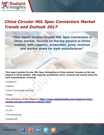 China Circular MIL Spec Connectors Market Share, Strategies and Forecasts 2017
