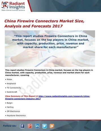 China Firewire Connectors Market Size, Analysis and Forecasts 2017