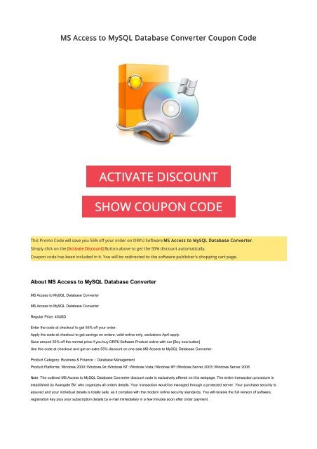 55 Off Ms Access To Mysql Database Converter Coupon Code 2017 Offer
