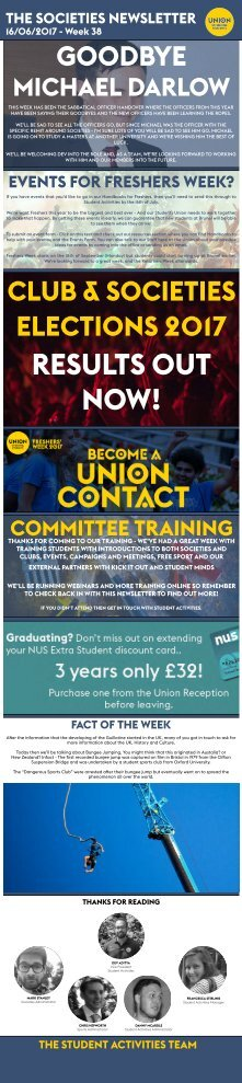 Societies Newsletter from The Union of Brunel Students 16.06.2017