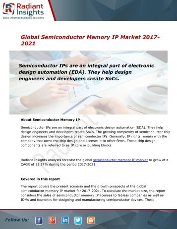 Global Semiconductor Memory IP Market and Forecast Report to 2021:Radiant Insights, Inc