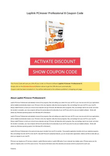 25% OFF Laplink PCmover Professional 8 Coupon Code 2017 Discount OFFER