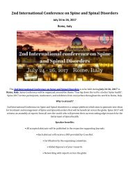 2nd International Conference on Spine and Spinal Disorders