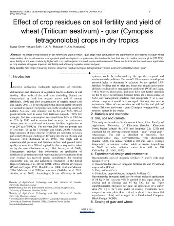 Effect of crop residues on soil fertility and yield of wheat (Triticum ...