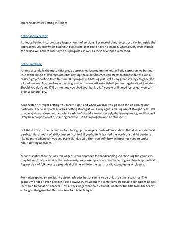 Sporting activities Betting Strategies5