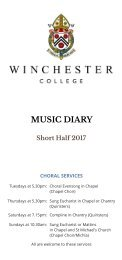 Winchester College Music Diary Short Half 2017