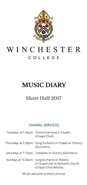 Winchester College Music Diary Short Half 2017