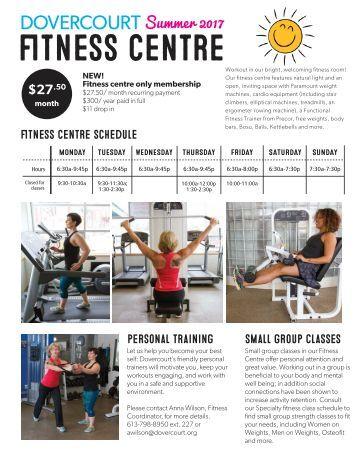Dovercourt Fitness Centre schedule Summer 2017