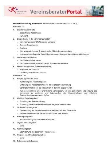 Stellenbeschreibung Kassenwart (Musterverein SV Mainhausen ...