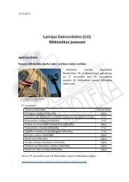 Latvijas Universitātes (LU) Bibliotēkas jaunumi